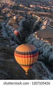 Beautiful hot air balloon flying over Cappadocia, Turkey