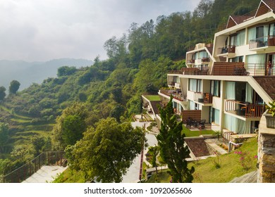 Beautiful hotel building placed in the hillside of Nagarkot, nice view of Mount Everest, Nepal