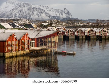 Beautiful hotel at the coast at Svolvaer town, Lofoten islands, Norway