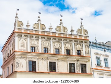 Beautiful house facade on the Market square in Lublin old town in Poland on a sunny day