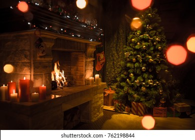 Beautiful house interior decorated for Christmas celebration