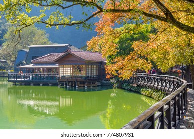 Beautiful house and maple red Leaves at jiji line, Nantou, Taiwan