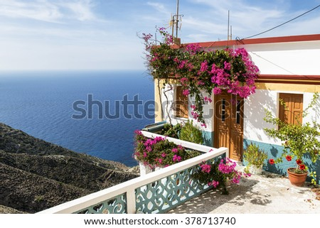 Beautiful House on the cliff in Olympos, Karpathos island, Greece