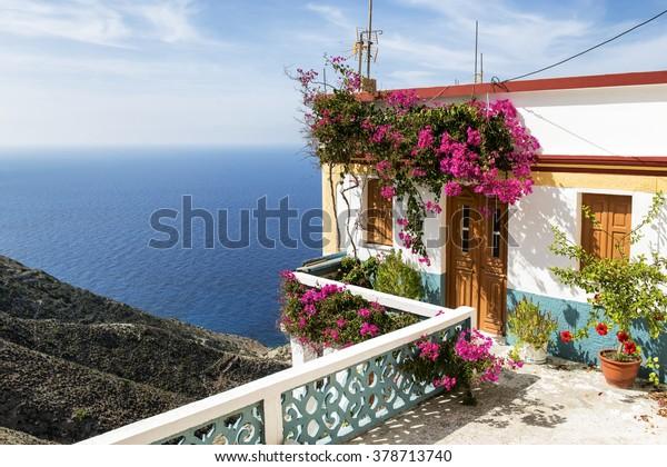 Beautiful House on the cliff in Olympos, Karpathos island, Greece