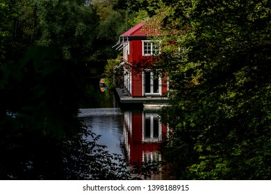 beautiful house with reflection on a river