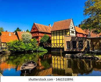 Beautiful houses by a river in Aarhus, Denmark - Den Gamle By