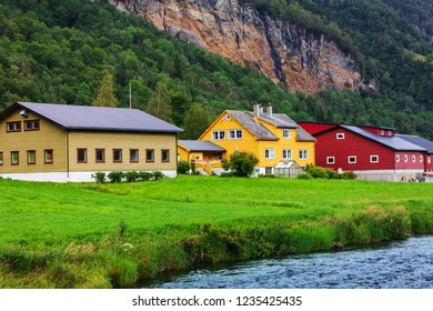 beautiful houses by the river, Norway