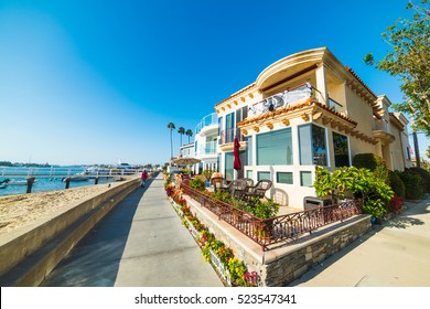 Beautiful houses by the sea in Balboa Island, California