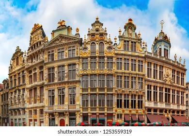 Beautiful houses of the Grand Place Square in Brussels, Belgium. From right to left Le Roy d'Espagne, La Brouette, Le Sac, La Louve, Le Cornet, Le Renard