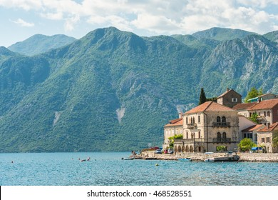 Beautiful houses of Perast in Kotor bay in Montenegro on sunset