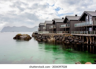 Beautiful houses in a row in a little village called Hamn i Senja on Senja island, Northern Norway