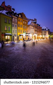 Beautiful houses and square on winter night in the Old Town of Warsaw, capital city of Poland.