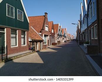 Beautiful Houses in Volendam, Amsterdam, Holland.