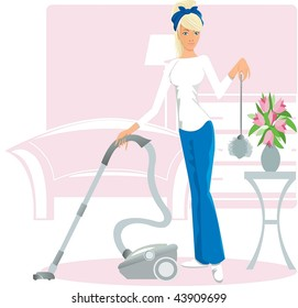 Beautiful housewife makes cleaning the room, in one hand and her vacuum cleaner in the other -duster