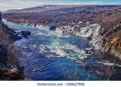 The beautiful Hraunfossar waterfalls of Iceland
