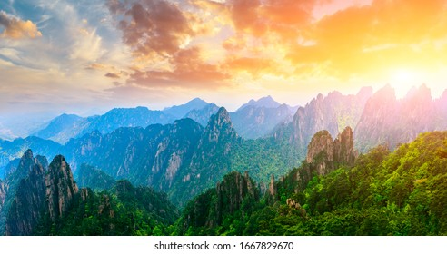 Beautiful Huangshan mountains landscape at sunrise in China. - Shutterstock ID 1667829670