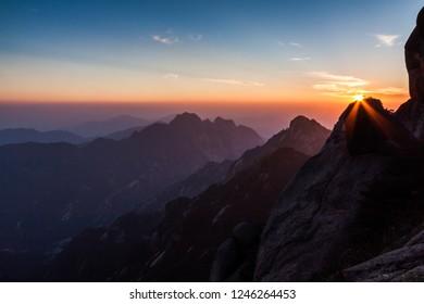 Beautiful huangshan sunrise natural scenery