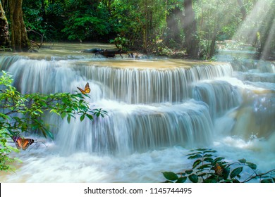Beautiful Huay Mae Kamin Waterfall (Floor 6- Dong Phi Suea) in deep forest at Srinakarin National Park,Kanchanaburi,A beautiful stream water famous rainforest waterfall in Thailand.