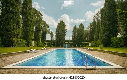Beautiful huge pool amongst cypress trees and bushes in a villa garden.