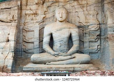 The beautiful and huge Samadhi Statue in Polonnaruwa, Sri Lanka.