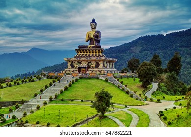 Beautiful huge statue of Lord Buddha, at Rabangla , Sikkim , India. Surrounded by Himalayan Mountains it is called Buddha Park - a popular tourist attraction.