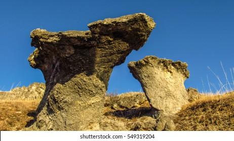 Beautiful huge stone mushrooms in Bulgaria