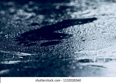 Beautiful human foot prints on a wet surface isolated unique blurry photo