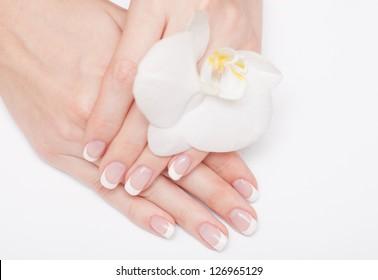 Beautiful human hand, spa