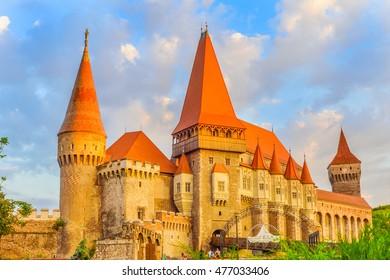 Beautiful Hunyad  Corvin castle in the sunset light, Hunedoara,Transylvania,Romania,Europe