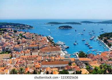 The Beautiful Hvar Town with the harbor viewed from the Spanish Fortress in Croatia