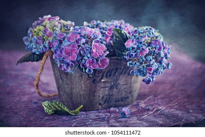 Beautiful  hydrangea flowers in a vase. Vintage style ,grunge paper background.