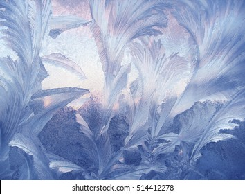 Beautiful ice pattern on winter glass, natural texture