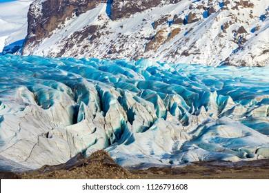 Beautiful ice of the Skaftafellsjokull glacier, Skaftafell National Park, Part of Vatnajokull National Park, Southeast Iceland.
