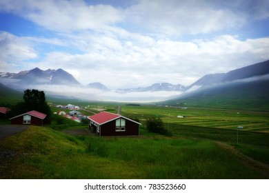 beautiful icelandic village in foggy morning, Iceland, Europe