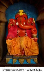 Beautiful idol of hindu god lord ganesha in temple of Wai, Naharashtra, india.