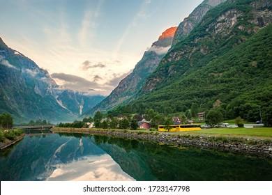 Beautiful idyllic mountain landscape. Gudvangen, a popular tourist village located at the beginning of Naeroyfjord