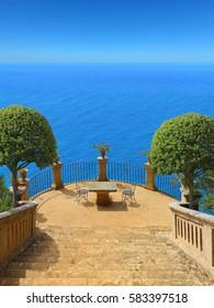 beautiful idyllic terrace high above the mediterranean sea