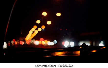 Beautiful illuminated glowing street lights at night isolated unique photograph