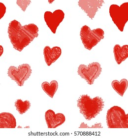 Beautiful illustration Seamless pattern with red watercolor hearts.