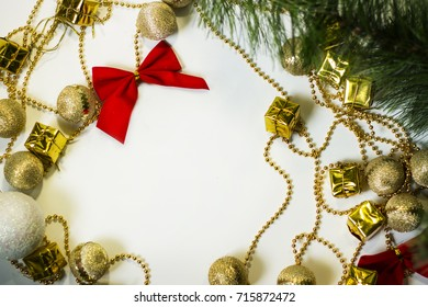 A beautiful image of Christmas toys on a white background. Can be used as a background.