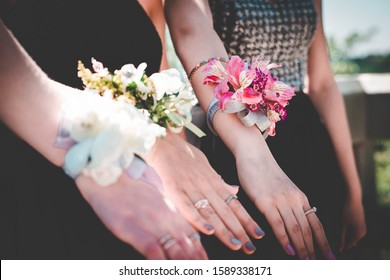Beautiful image of girls showing their floral corsages.
