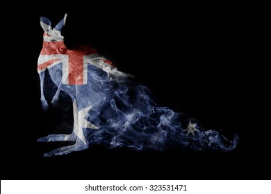 beautiful image of a kangaroo with the australian flag.. animal kingdom. wildlife picture. great  tattoo, rugby world cup