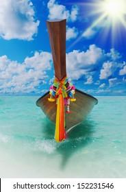Beautiful image Longtail boat on the sea tropical beach. Andaman Sea, Thailand