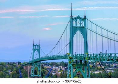 Beautiful Image of Saint John's Bridge in Portland, Oregon