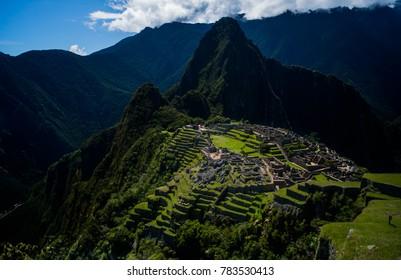 The beautiful Inca ruin of Machu Picchu located in the Cusco Region, Urubamba Province, Peru. Sitting above above the Sacred Valley near Agua Calientes.