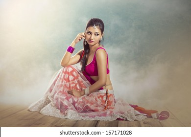 Beautiful Indian bride in colorful dress