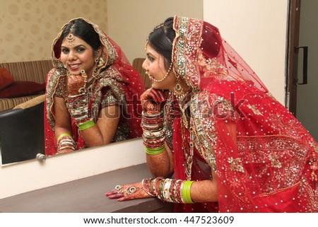 Beautiful Indian Bride Looking Herself Mirror Stock Photo Edit Now