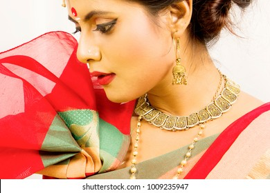 beautiful indian female model in a traditional indian saree wearing gold jewellry and bangles
