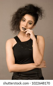 Beautiful indian girl in black skirt