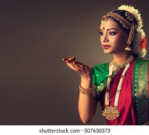 Beautiful indian girl dancer of Indian classical dance bharatanatyam .